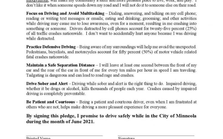Safe Driving Pledge Form